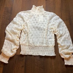 NWT Cream turtleneck sheer blouse